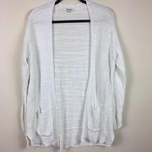 Madewell White Linen Blend Postscript Cardigan L